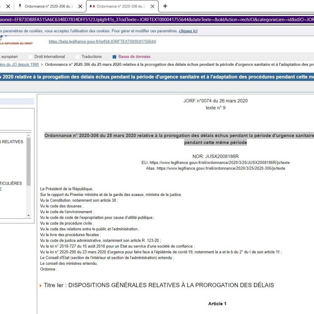 Ordonnance n° 2020-306 du 25 mars 2020 relative à la prorogation des délais échus pendant la période d'urgence sanitaire et à l'adaptation des procédures pendant cette même période