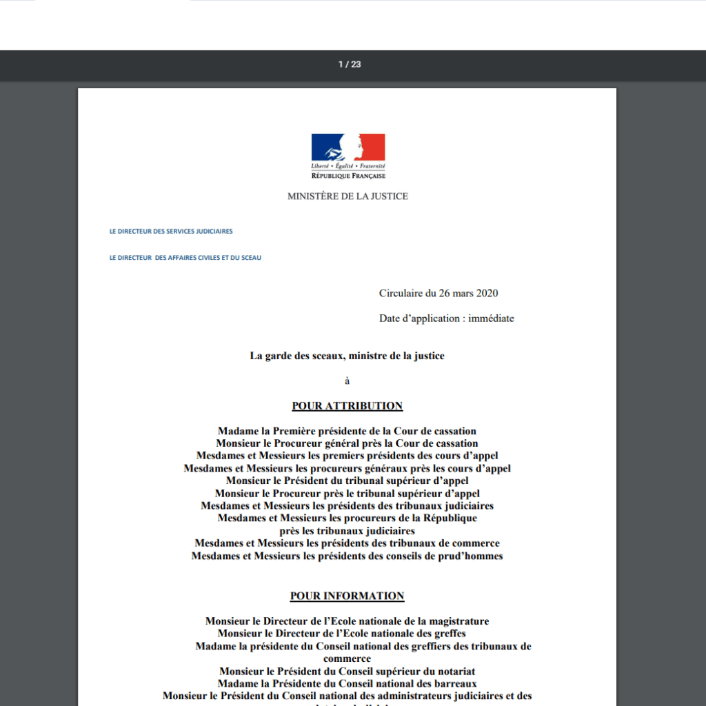 Circulaire de présentation de l'ordonnance n° 2020-304 du 25 mars 2020 portant adaptation des règles applicables aux juridictions de l'ordre judiciaire statuant en matière non pénale et aux contrats de syndic de copropriété.