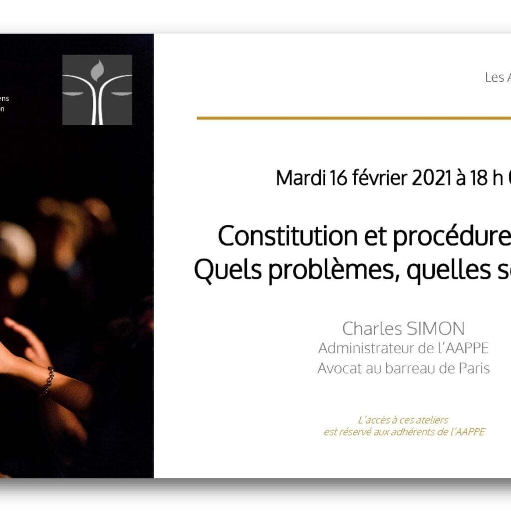 Atelier d'Echange du 16 février 2021 à 18 h 00